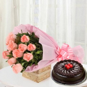 Bouquet of 10 Pink Roses Chocolate Truffle Cake - 500 grams