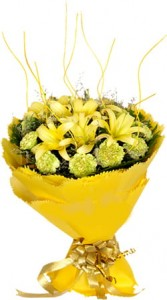 Bunch of Yellow Lilies and Carnations.
