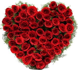 A lovely heart shaped arrangement of 60 red roses for your sweetheart.