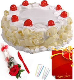 Red Rose Half Kg Eggless Butterscotch Cake n Greeting Card