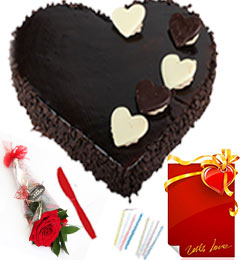 Red Rose n 1 Kg Eggless Heart Black Forest Cake n Greeting Card