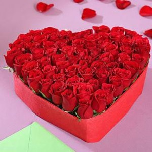 50 red rose in heart shape