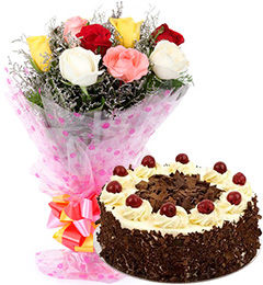 1/2 kg Black Forest Egg-less Cake and 10 Mix Rose Bunch