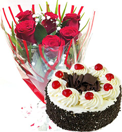 Half kg Egg-less Black Forest Cake and 6 Red roses Bunch