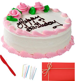 Half Kg Eggless Strawberry Cake n Greeting Card