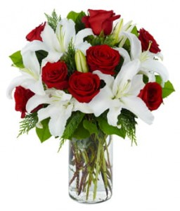 Exclusive Red Rose & Lily Arrangement