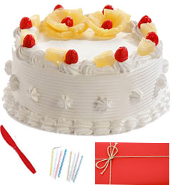 1/2 Kg Eggless Pineapple Cake n Greeting Card