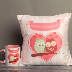 Anniversary Printed Cushion, Mug