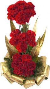 A very beautiful one sided arrangement of red carnations.