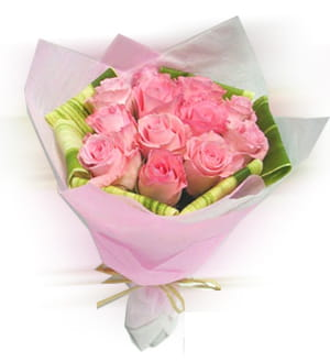 Bonds of friendship, care and togetherness in a bunch of 12 Pink Roses in matching pink packing.300.jpg