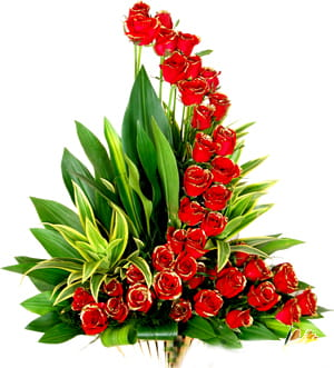 A marvelous one sided designer arrangement of 40 red roses with greens, to spellbound your loved ones.1000.jpg